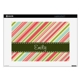 "Coral and Green Stripes Striped 15"" Laptop Decals"