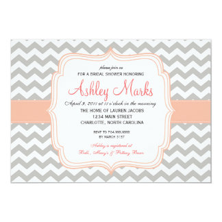 Coral and Grey Chevron Invitation