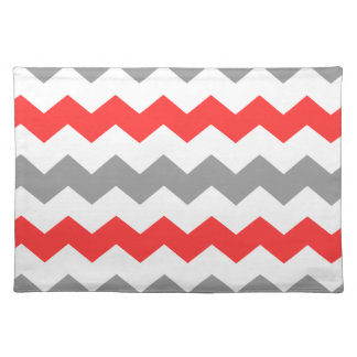 Coral and Grey Chevron Placemat