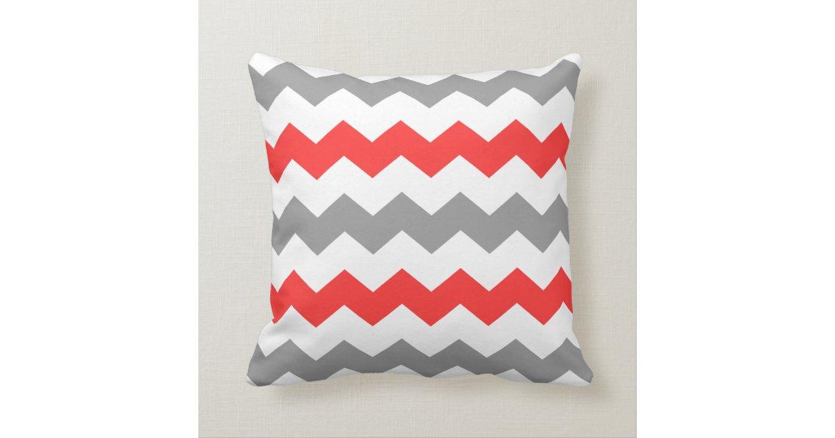 Grey Chevron Throw Pillow : Coral and Grey Chevron Throw Pillow Zazzle