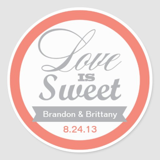 Coral and Grey Favor Stickers