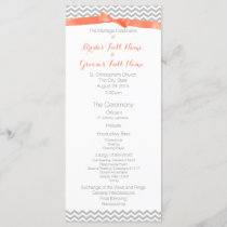 Coral and Grey Zigzag Pattern Wedding Program