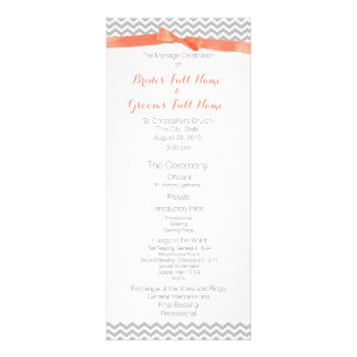 Coral and Grey Zigzag Pattern Wedding Program