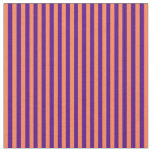 [ Thumbnail: Coral and Indigo Colored Pattern of Stripes Fabric ]