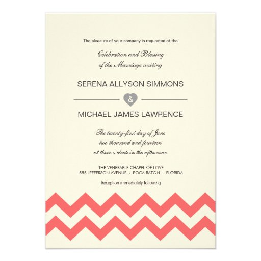Coral and Ivory Chevron Wedding Invitations
