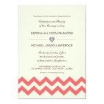 "Coral and Ivory Chevron Wedding Invitations 4.5"" X 6.25"" Invitation Card"