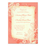 """Coral and Ivory Floral Wedding Invitation 5"""" X 7"""" Invitation Card"""