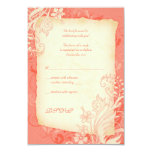 """Coral and Ivory Floral Wedding Reply Card 3.5"""" X 5"""" Invitation Card"""