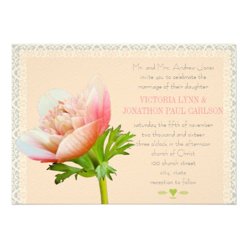 Coral and Lace Peony Floral Wedding Personalized Invitations