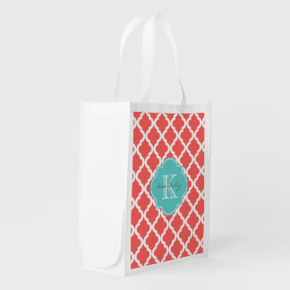 Coral and Light Aqua Moroccan Quatrefoil Monogam Grocery Bag