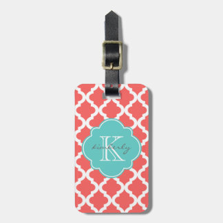 Coral and Light Aqua Moroccan Quatrefoil Print Tag For Luggage