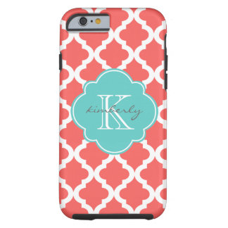 Coral and Light Aqua Moroccan Quatrefoil Print Tough iPhone 6 Case