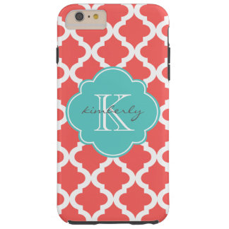 Coral and Light Aqua Moroccan Quatrefoil Print Tough iPhone 6 Plus Case