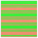 [ Thumbnail: Coral and Lime Colored Stripes/Lines Pattern Fabric ]