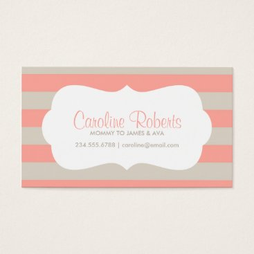 Beach Themed Coral and Linen Modern Stripes and Dots Business Card