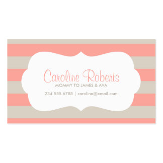 Coral and Linen Modern Stripes and Dots Business Card