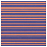 [ Thumbnail: Coral and Midnight Blue Colored Pattern Fabric ]
