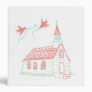 Coral and Mint Chapel Wedding Binder