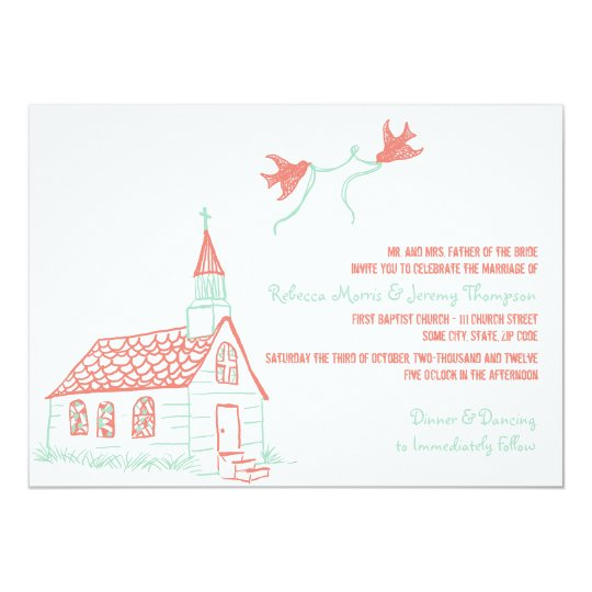 Coral And Mint Wedding Invitations: Coral And Mint Chapel Wedding Invitation