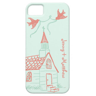 Coral and Mint Chapel Wedding iPhone SE/5/5s Case