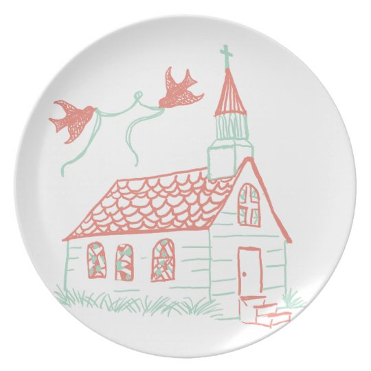 Coral and Mint Chapel Wedding Plate