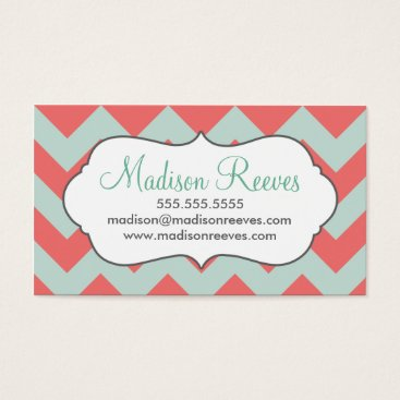 Professional Business Coral and Mint Chevron Business Card Template