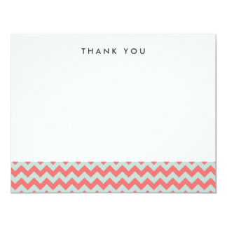 "Coral and Mint Chevron Thank You Note Cards 4.25"" X 5.5"" Invitation Card"