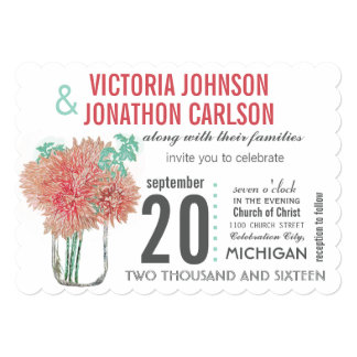 Coral and Mint Chrysanthemum in a Mason Jar Card