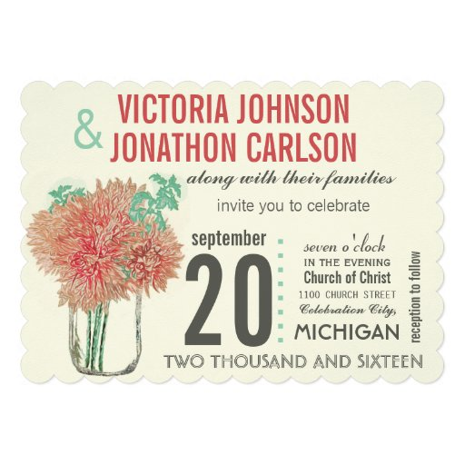 Coral and Mint Chrysanthemum in a Mason Jar Custom Invites