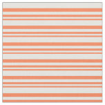 [ Thumbnail: Coral and Mint Cream Colored Stripes Pattern Fabric ]