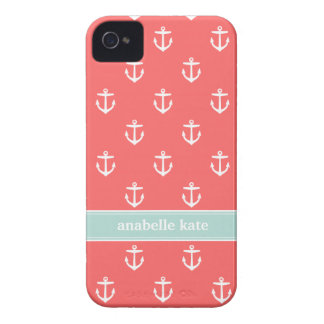 Coral and Mint Cute Anchors Custom Monogram Case-Mate iPhone 4 Case