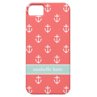 Coral and Mint Cute Anchors Custom Monogram iPhone SE/5/5s Case