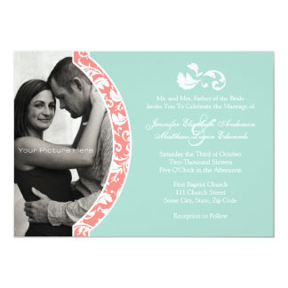 Coral and Mint Damask Photo Wedding 5x7 Paper Invitation Card