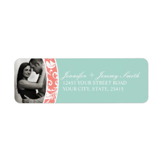 Coral and Mint Damask Photo Wedding Label