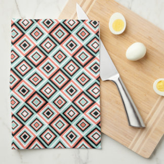 Coral and Mint Diamond Pattern Kitchen Towel