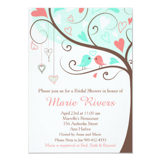 Coral and Mint Floral Bird Bridal Shower Card