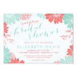Coral and Mint Floral Surprise Bridal Shower Card
