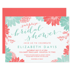 coral and mint floral surprise bridal shower invitation