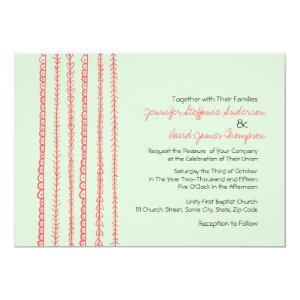 Coral and Mint Fun Doodles Wedding Invitations 5