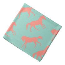 Coral and Mint Galloping Horses Pattern Bandana