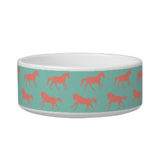 Coral and Mint Galloping Horses Pattern Bowl