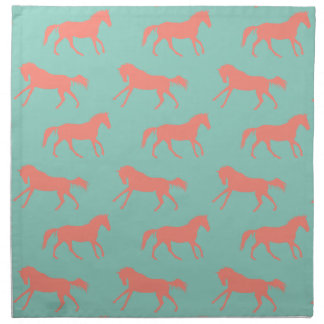 Coral and Mint Galloping Horses Pattern Cloth Napkin