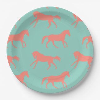 Coral and Mint Galloping Horses Pattern Paper Plate
