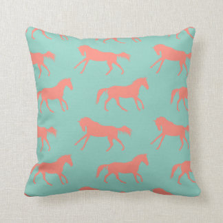 Coral and Mint Galloping Horses Pattern Throw Pillow