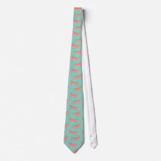 Coral and Mint Galloping Horses Pattern Tie