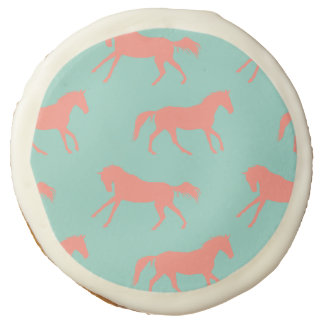 Coral and Mint Galloping Horses Pattern Sugar Cookie