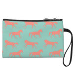 Coral and Mint Galloping Horses Pattern Wristlet Wallet
