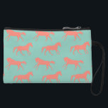 """Coral and Mint Galloping Horses Pattern Wristlet Wallet<br><div class=""""desc"""">This colorful coral pink and mint or teal green classic equestrian design features a patterned horse theme. Two different graphics of a galloping horse in light grey. Perfect for the horse or pony lover&#39;s home decor! A great gift for your horse trainer or barn manager too!</div>"""