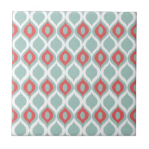 Coral and Mint Geometric Ikat Tribal Print Pattern Ceramic Tile