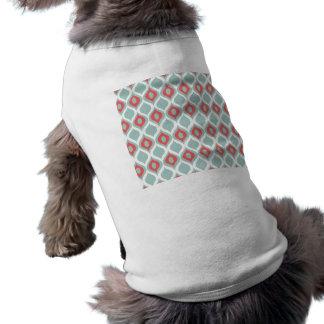 Coral and Mint Geometric Ikat Tribal Print Pattern Pet Tee Shirt